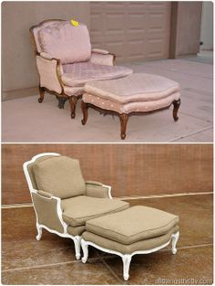 Awesome chair makeover  - from frumpy to fabulously french and fun.