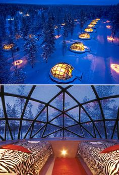 Hotel Kakslauttanen in Finland has log cabins and snow igloos as well as some unbelievable glass igloos that provide a one of a kind opportunity to view the northern lights and millions of stars in a crystal clear sky.