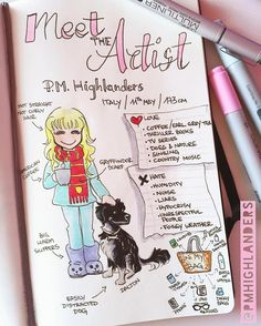 🌸Here's my #MeetTheArtist 🌷 It was a funny thing to draw 😂 #artist #drawing #illustration #comics #cartoon #art #artoftheday #dogsofinsta #gryffindorscarf #coffeelover #copic #moleskine #journalart #funart #sketchbook #doodle