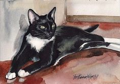 #Tuxedo cat #kitty black and white giclee #print of original watercolor painting ,  View more on the LINK: 	http://www.zeppy.io/product/gb/2/251763007493/