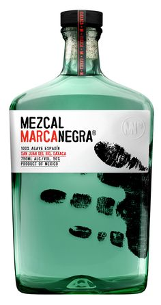 Mezcal Marca negra--the bottle shape and color of the liquid make it look like something very classified