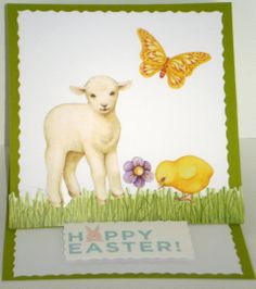 Easter layout using old farm, spring stickers from Creative Memories
