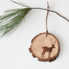 Rustic Wood Slice Ornament with Burned Deer by ForageWorkshop