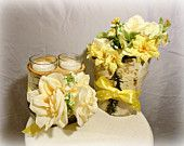 2 piece Rustic Wedding  Birch log Yellow Rose Candle Table Arrangement. by marys4everflowers on Etsy, $20.00 USD