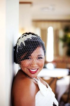 Crystal Beaded Bridal Headband with Birdcage Veil - Sophia our Couture Crystal & Silver Beaded Headband with birdcage veil for your wedding