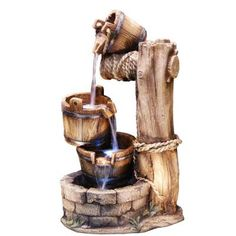 Going down to fetch water from the well has never been so fun as it is with the Alpine Cascading Barrel Fountain with LED Light . Barrel Fountain, Fountain Lights, Indoor Water Fountains, Garden Fountains, Fountain Garden, Outdoor Fountains, Resin Material, Decoration, Outdoor Decor