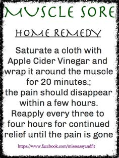 If youre suffering from sore muscles after your workout try Apple Cider Vinegar. I tried this and it worked great. If you have super sore muscles it really helps you have nothing to lose Wellness Fitness, Health And Wellness, Health Fitness, Homeopathic Remedies, Home Remedies, Remedy For Sore Muscles, Sore Muscle Relief, Wow Recipe, After Workout