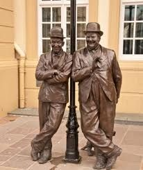 Laurel and Hardy Statue outside  Coronation Hall Theatre, Ulverston, Cumbria, England.