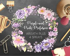 Wreath of purple and pink blooms: hand painted watercolors; wedding clip art; weddings; watercolor clip art - instant download by LollysLaneShoppe on Etsy