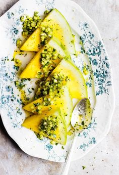A yellow watermelon recipe served with diced, herbed cucumbers. A vibrant summer salad with lots of herbs, olive oil and pops of acid. Watermelon Salad, Watermelon Recipes, Fruit Recipes, Lunch Recipes, Summer Recipes, Pasta Recipes, Breakfast Recipes, Dinner Recipes, Cucumber Recipes