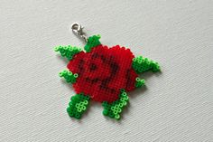 Hama mini perler summer flower rose pendant by Alsterbead