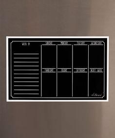 Black Fluorescent Dry-Erase Chalkboard Magnetic Weekly Calendar