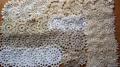 50 White, Beige, Ecru and Cream Vintage Crochet Doily Coaster Medallions