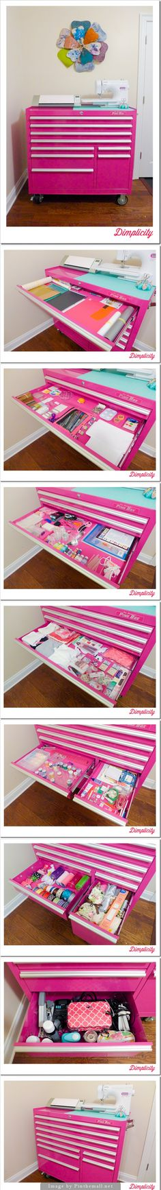 I love this craft storage idea from a toolbox. love the paint color.  this would be great for stamping supplies.