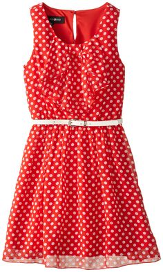 Amy Byer Big Girls' Belted Bow Dress, Red, 7