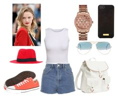 """Untitled #52"" by merisa96 ❤ liked on Polyvore featuring Topshop, Converse, H&M, Ray-Ban, GUESS, Henri Bendel and Forestier"
