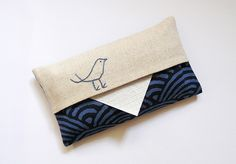 Items similar to Tissue Holder. Linen with navy blue Japanese fabric. on Etsy Tissue Boxes, Tissue Holders, Japanese Cotton, School Bags, Pouch, Wallet, Sewing Projects, Crochet, Cotton Fabric