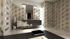 Znalezione obrazy dla zapytania płytki heksagonalne łazienka projekt wizualizacja Bathroom Lighting, Mirror, Furniture, Home Decor, Bathroom Light Fittings, Bathroom Vanity Lighting, Interior Design, Home Interior Design, Arredamento