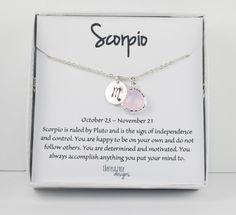 Scorpio Zodiac Silver Necklace Scorpio October by TheresaRose