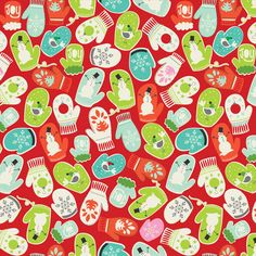 Tinsel by Maude Asbury for Blend Fabrics Mittens In Red Christmas Fabric, Christmas Design, Christmas Art, Christmas Holidays, Christmas Tinsel, Christmas Jumpers, Christmas Things, Christmas Presents, Illustration Noel