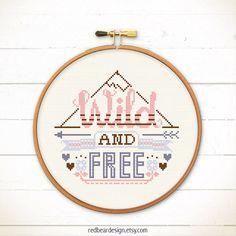 Quote Cross stitch Wild And Free Modern cross by redbeardesign