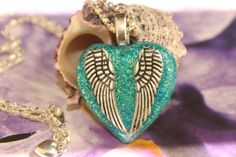 Wings of Light Paradise Green Glitter Resin Heart by tranquilityy, $8.00