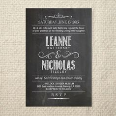 Wedding Invitation Handlettered Chalkboard by AmyAdamsPrintables