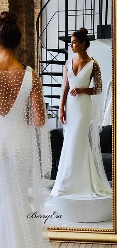 Wedding Elegant Long Mermaid Fitted Long Wedding Dresses With Pearl Cloak – Wedding Ideas Western Wedding Dresses, Long Wedding Dresses, Bridal Dresses, Wedding Gowns, Wedding Bride, Wedding Dress With Pearls, Wedding Dress Cape, Wedding Ideas, Decor Wedding