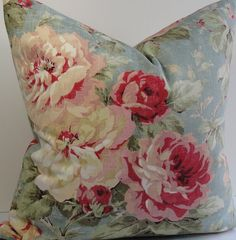 Teal pink peony Floral shabby weathered cottage rose by WilmaLong