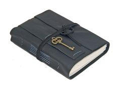 Black Leather Journal with Key Bookmark  Ready to by boundbyhand