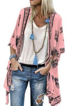 Bohemian Print Half Sleeve Summer Beach Plus Size Kimono is personalized, see other cheap plus size kimono tops on NewChic. Bohemian Kimono, Bohemian Mode, Bohemian Print, Bohemian Fabric, Boho Fashion Summer, Women's Fashion, Fashion 2020, Cardigan Chiffon, Chiffon Kimono