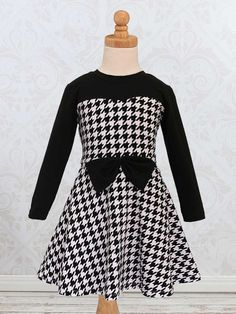 Elise Girls Dress Sewing Pattern // Fabric: Riley Blake Designs Houndstooth and Solid Black Jersey Knit Fabric #iloverileyblake #jerseyknit #houndstooth #elisedress #girlsdresspattern