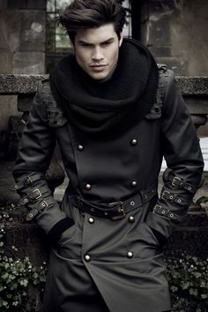 Looks Like something I have in my Closet...WICKED kool Jacket and an ultra big infinity scarf...style gents...style