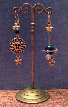 Celestial Earrings / Sun / Azurite Earth/ Moon and Swarovski Crystal Stars Assymetrical  Limited Edition/ 14k GF by BeadJewelled