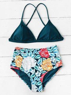 Flower Print High Waist Crisscross Mixed And Match Bikini Set