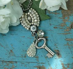 Repurposed belt buckle necklace - Starlight Reflection