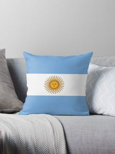 'Argentina Flag' Throw Pillow by ArgosDesigns Throw Pillows Bed, Bed Throws, Floor Pillows, Decorative Throw Pillows, Argentine, Wall Tapestry, Duvet Covers, Gifts, Yellow
