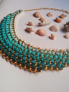 Ombre statement necklace with turquoise threads by eldascreations. gorgeous summer color palette