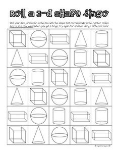 Roll a dice and color in the shape that corresponds to the number rolled. Any five in a row wins! From First Grade Fanatics.