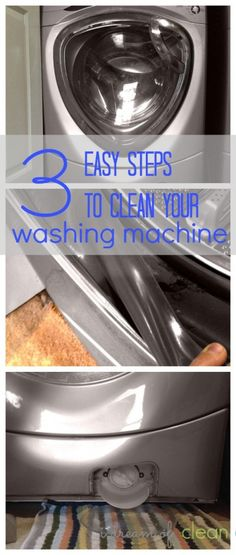 3 easy steps to a super clean, high-efficiency (HE), front-loading washing machine. You've probably forgotten at least one of these. I know I have!