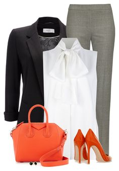 """""""Orange, Black and Gray"""" by daiscat ❤ liked on Polyvore featuring Wallis, Jaeger, Victoria Beckham, Gianvito Rossi, Givenchy and Trina Turk"""