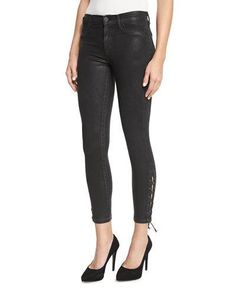 TCX57 Hudson Nix Coated Lace-Up Cropped Jeans, Black