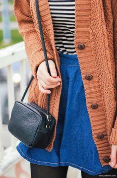 7644177e0324 Oversized Cardigan with Jeans Skirt and Handbag Orange Cardigan