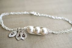 Mini / Tiny Personalized 3 Peas in a Pod Bracelet wrapped in Sterling Silver Wire - Choose your Initial and Pearl Color - Mother's Day