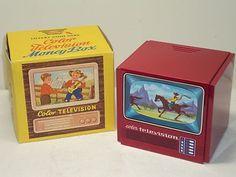 Vintage German Tin Western Themed Cowboy Color Television Savings Bank MIB