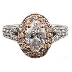 Idée et inspiration bague: Image Description 14K Diamond Engagement Ring Rose Gold Oval Bridal Two Tone
