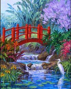 Mikki Senkarik ~c.c.c~ Pretty Lily Pond With Red Lacquered Japanese Bridge And Heron