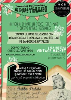 Re(d)ymade - Workshop di cucito natalizio #christmas #redcyclelab #bunting #workshop