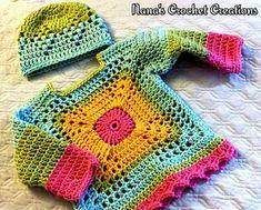 """Nana's """"Little BoHo Sweater"""" & """"Toddler Beanie"""" pattern by D Maunz Crochet , Nana's """"Little BoHo Sweater"""" & """"Toddler Beanie"""" pattern by D Maunz Ravelry: Nana& """"Little BoHo Sweater"""" & """"Toddler Beanie"""" pattern by D Maunz Bab. Pull Crochet, Crochet Granny, Crochet Top, Free Crochet, Pull Bebe, Baby Pullover, Crochet Cardigan Pattern, Crochet Beanie, Crochet Shawl"""