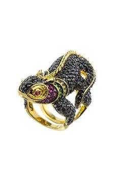 Roberto Coin 18k Diamond & Sapphire Rabbit Ring, Size 8.75